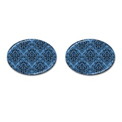 Damask1 Black Marble & Blue Colored Pencil (r) Cufflinks (oval) by trendistuff