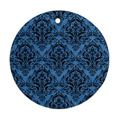 Damask1 Black Marble & Blue Colored Pencil (r) Round Ornament (two Sides) by trendistuff