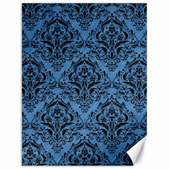 Damask1 Black Marble & Blue Colored Pencil (r) Canvas 18  X 24  by trendistuff
