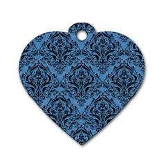 Damask1 Black Marble & Blue Colored Pencil (r) Dog Tag Heart (one Side) by trendistuff