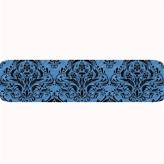 Damask1 Black Marble & Blue Colored Pencil (r) Large Bar Mat by trendistuff