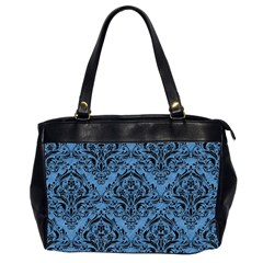 Damask1 Black Marble & Blue Colored Pencil (r) Oversize Office Handbag (2 Sides) by trendistuff