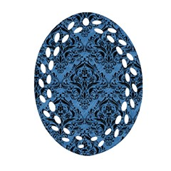 Damask1 Black Marble & Blue Colored Pencil (r) Oval Filigree Ornament (two Sides) by trendistuff