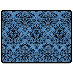 Damask1 Black Marble & Blue Colored Pencil (r) Double Sided Fleece Blanket (large) by trendistuff