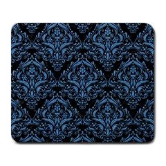 Damask1 Black Marble & Blue Colored Pencil Large Mousepad by trendistuff