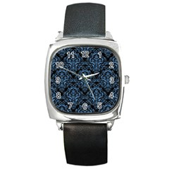 Damask1 Black Marble & Blue Colored Pencil Square Metal Watch by trendistuff