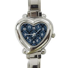 Damask1 Black Marble & Blue Colored Pencil Heart Italian Charm Watch by trendistuff