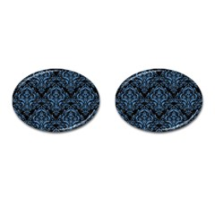 Damask1 Black Marble & Blue Colored Pencil Cufflinks (oval) by trendistuff
