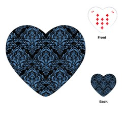 Damask1 Black Marble & Blue Colored Pencil Playing Cards (heart) by trendistuff