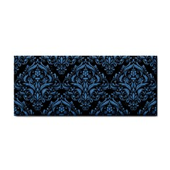Damask1 Black Marble & Blue Colored Pencil Hand Towel by trendistuff