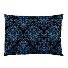 Damask1 Black Marble & Blue Colored Pencil Pillow Case by trendistuff