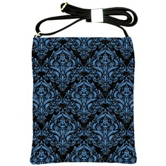 Damask1 Black Marble & Blue Colored Pencil Shoulder Sling Bag by trendistuff
