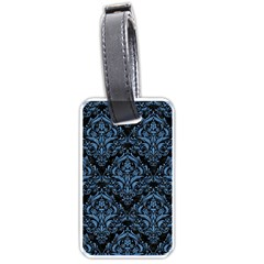 Damask1 Black Marble & Blue Colored Pencil Luggage Tag (one Side) by trendistuff