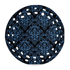 Damask1 Black Marble & Blue Colored Pencil Ornament (round Filigree) by trendistuff