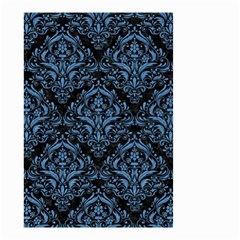 Damask1 Black Marble & Blue Colored Pencil Small Garden Flag (two Sides) by trendistuff