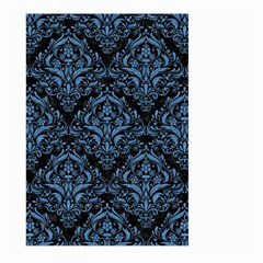 Damask1 Black Marble & Blue Colored Pencil Large Garden Flag (two Sides) by trendistuff