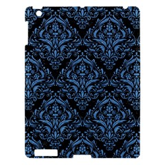 Damask1 Black Marble & Blue Colored Pencil Apple Ipad 3/4 Hardshell Case by trendistuff