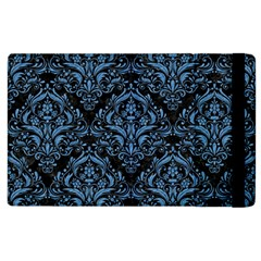 Damask1 Black Marble & Blue Colored Pencil Apple Ipad 3/4 Flip Case by trendistuff