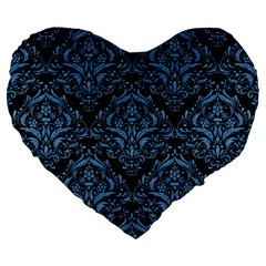 Damask1 Black Marble & Blue Colored Pencil Large 19  Premium Heart Shape Cushion by trendistuff