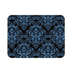 Damask1 Black Marble & Blue Colored Pencil Double Sided Flano Blanket (mini) by trendistuff