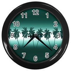 Tropical Sunset Wall Clocks (black) by Valentinaart