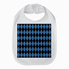 Diamond1 Black Marble & Blue Colored Pencil Bib by trendistuff