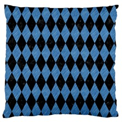 Diamond1 Black Marble & Blue Colored Pencil Standard Flano Cushion Case (two Sides) by trendistuff