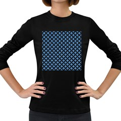 Circles3 Black Marble & Blue Colored Pencil (r) Women s Long Sleeve Dark T Shirt by trendistuff