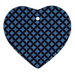 Circles3 Black Marble & Blue Colored Pencil (r) Heart Ornament (two Sides) by trendistuff