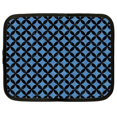 Circles3 Black Marble & Blue Colored Pencil (r) Netbook Case (xl) by trendistuff