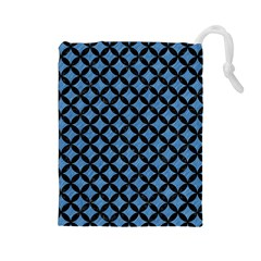 Circles3 Black Marble & Blue Colored Pencil (r) Drawstring Pouch (large) by trendistuff
