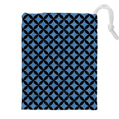 Circles3 Black Marble & Blue Colored Pencil (r) Drawstring Pouch (xxl) by trendistuff