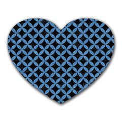 Circles3 Black Marble & Blue Colored Pencil Heart Mousepad by trendistuff