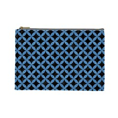 Circles3 Black Marble & Blue Colored Pencil Cosmetic Bag (large) by trendistuff