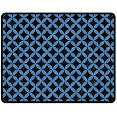 Circles3 Black Marble & Blue Colored Pencil Double Sided Fleece Blanket (medium) by trendistuff