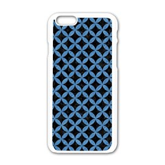 Circles3 Black Marble & Blue Colored Pencil Apple Iphone 6/6s White Enamel Case by trendistuff
