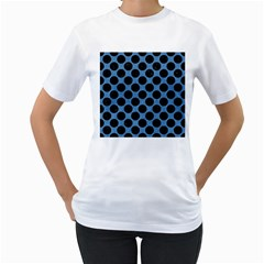 Circles2 Black Marble & Blue Colored Pencil (r) Women s T Shirt (white) (two Sided) by trendistuff