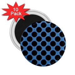 Circles2 Black Marble & Blue Colored Pencil (r) 2 25  Magnet (10 Pack) by trendistuff