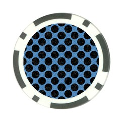 Circles2 Black Marble & Blue Colored Pencil (r) Poker Chip Card Guard by trendistuff