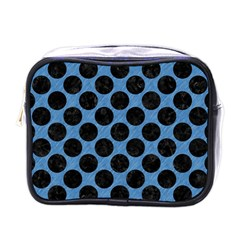 Circles2 Black Marble & Blue Colored Pencil (r) Mini Toiletries Bag (one Side) by trendistuff