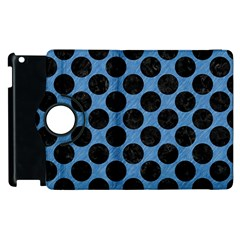 Circles2 Black Marble & Blue Colored Pencil (r) Apple Ipad 2 Flip 360 Case by trendistuff