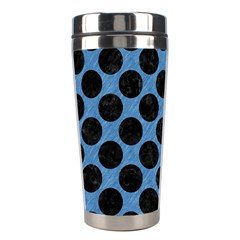Circles2 Black Marble & Blue Colored Pencil (r) Stainless Steel Travel Tumbler by trendistuff