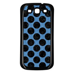 Circles2 Black Marble & Blue Colored Pencil (r) Samsung Galaxy S3 Back Case (black) by trendistuff