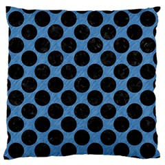 Circles2 Black Marble & Blue Colored Pencil (r) Large Flano Cushion Case (two Sides) by trendistuff