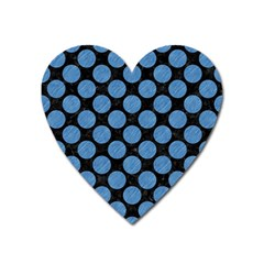 Circles2 Black Marble & Blue Colored Pencil Magnet (heart) by trendistuff