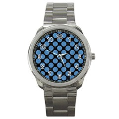 Circles2 Black Marble & Blue Colored Pencil Sport Metal Watch by trendistuff