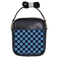 Circles2 Black Marble & Blue Colored Pencil Girls Sling Bag by trendistuff