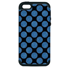 Circles2 Black Marble & Blue Colored Pencil Apple Iphone 5 Hardshell Case (pc+silicone) by trendistuff