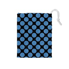 Circles2 Black Marble & Blue Colored Pencil Drawstring Pouch (medium) by trendistuff