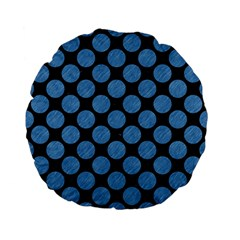 Circles2 Black Marble & Blue Colored Pencil Standard 15  Premium Flano Round Cushion  by trendistuff
